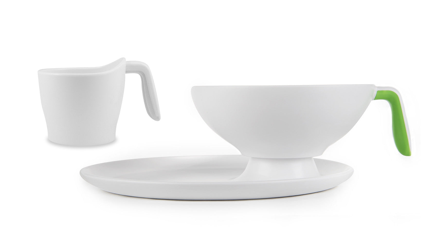 1 Ripple Set - White with lime green handle bowl, cup and plate