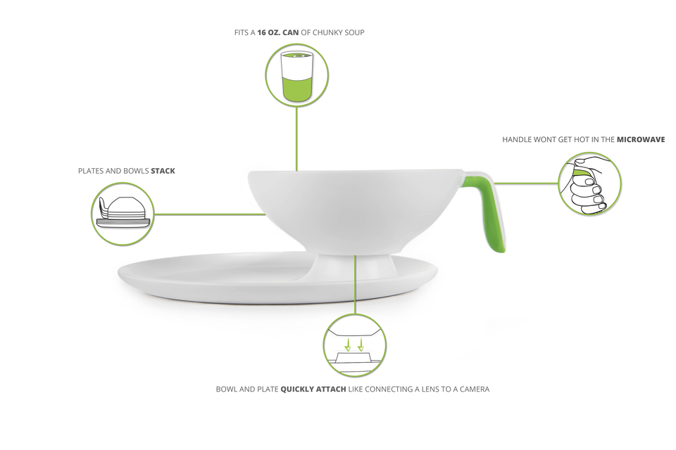 Detachable dishware so you can eat anywhere!