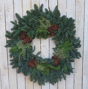 Mixed Greens Wreath w/Cones - 6 sizes