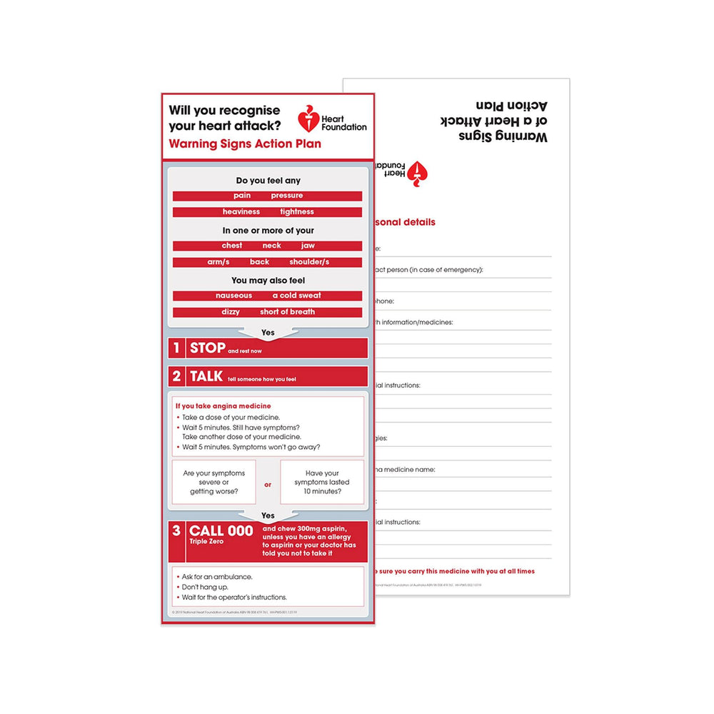 Warning Signs of Heart Attack Action Plan - Wallet Card