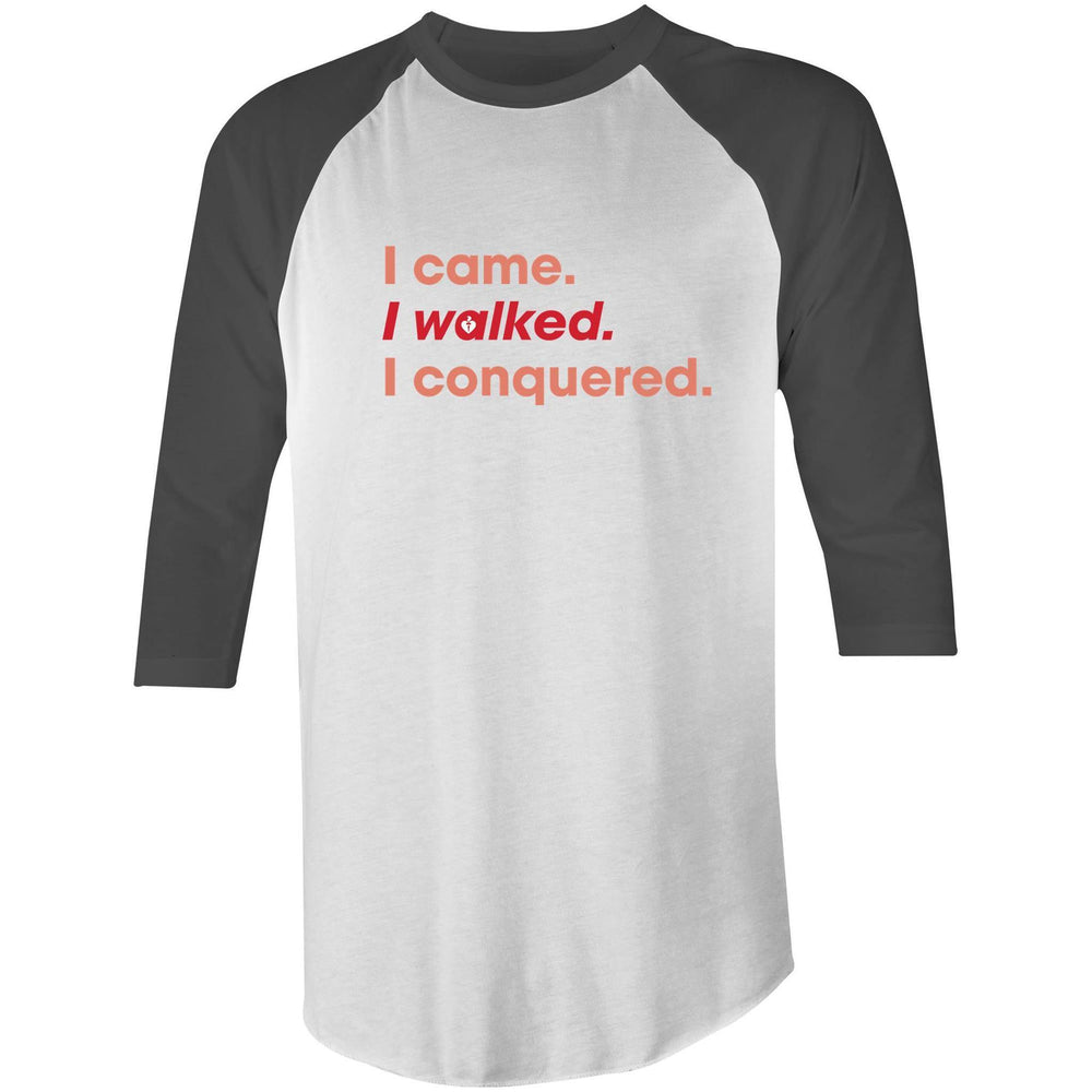 Heart Foundation I walked. I conquered. 3/4 Sleeve T-Shirt Charcoal