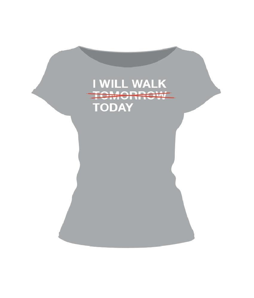 Heart Foundation I Will Walk Today Women's Grey T-shirt Front
