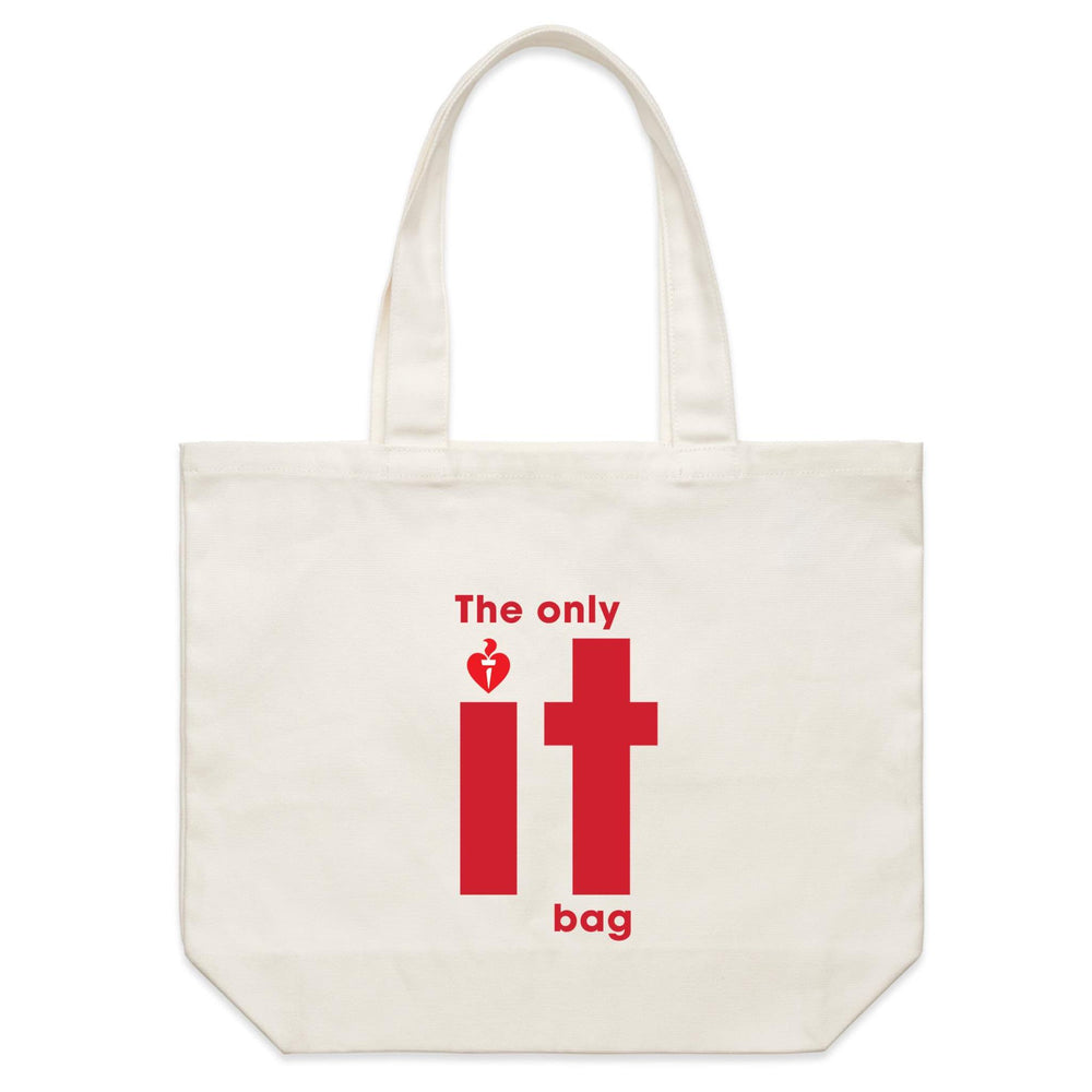 Heart Foundation The only it bag - Shoulder Canvas Tote Bag Cream with red print