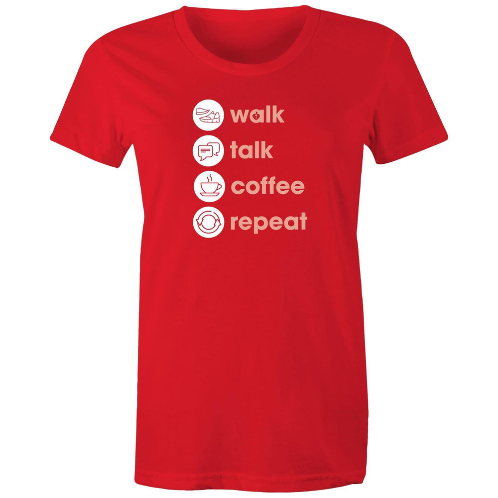Walk. Talk. Coffee. Repeat. Women's T-shirt