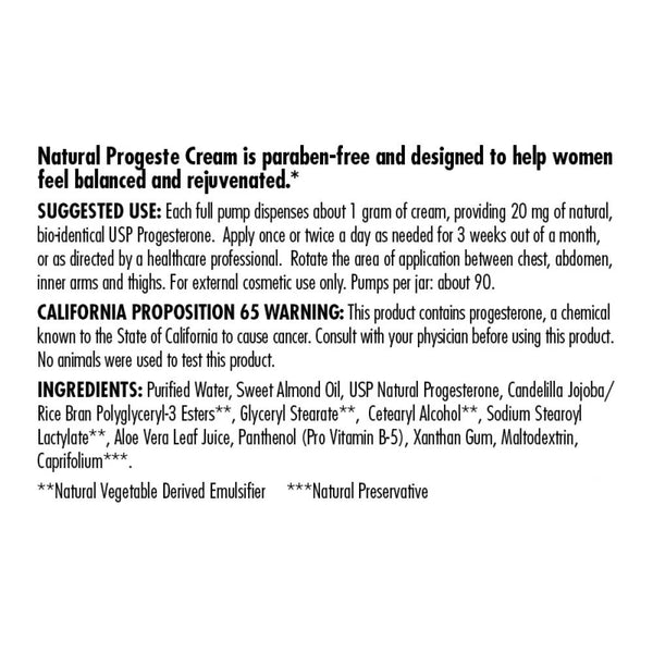 Natural Progeste Cream Paraben Free  3.5 OZ. - 20 MG