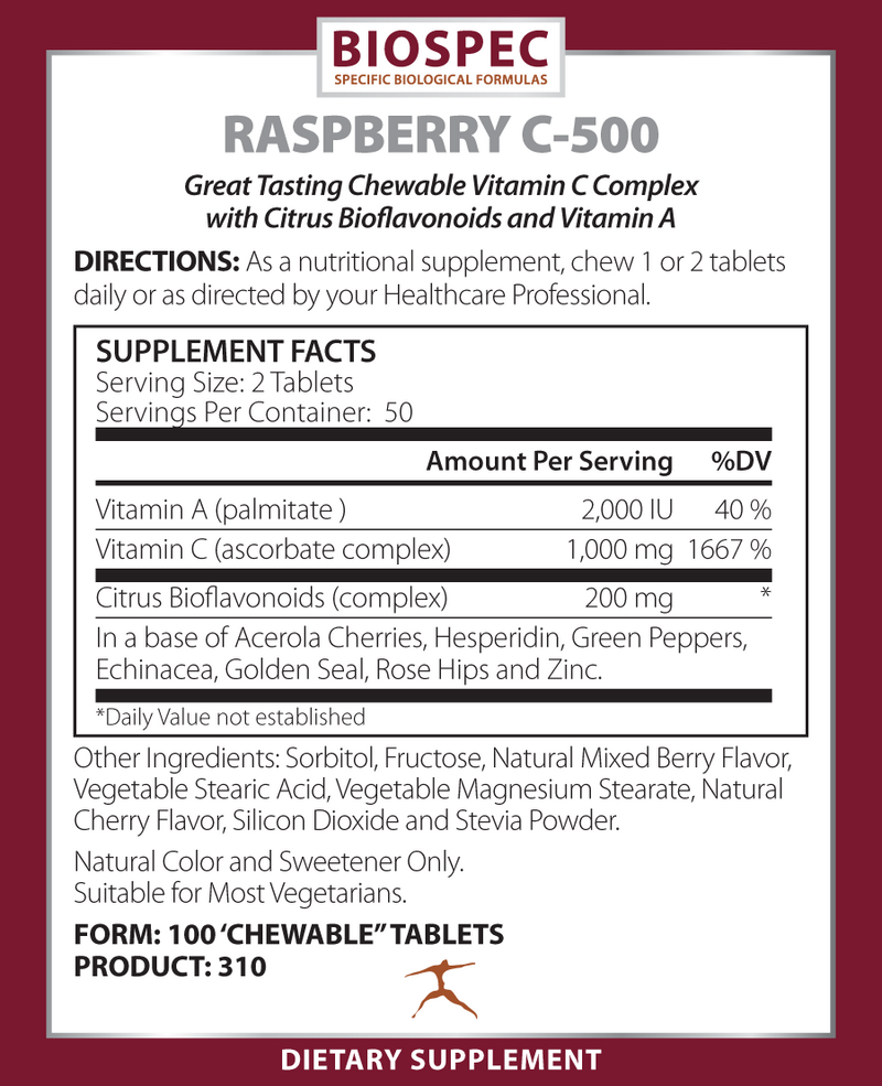 RASPBERRY C-500 (100 Chewable Tablets)