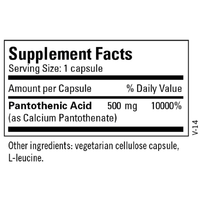 Pantothenic Acid  100 CAPS - 500 MG