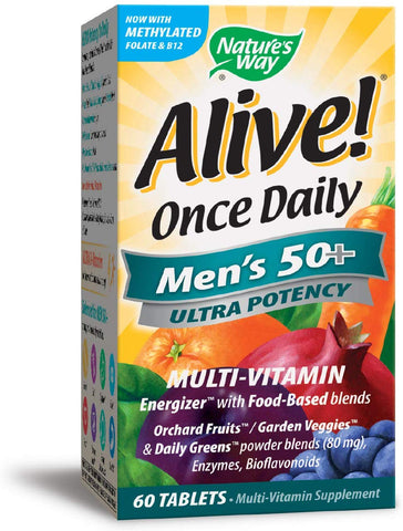 Nature's Way Alive Once Daily Men's 50+ Ultra Potency Tablets, 60
