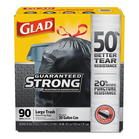 Glad Drawstring Large Trash Bags, 30 x 33, 30gal, 1.05mil, Black, 90/Carton