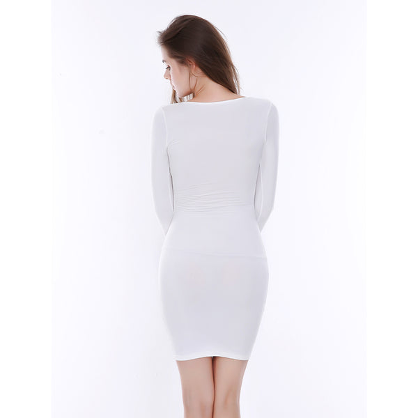 LadyZoye®Women Warm Long Sleeve Slim White Balck Dress Autumn Winter  New Hollow out v-Neck Sexy Elastic Bodycon Party Dress
