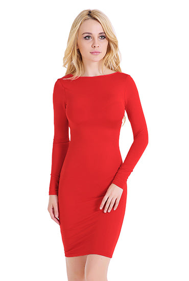 LadyZoye®Dress ladies long sleeve dress solid color cutout hip dress