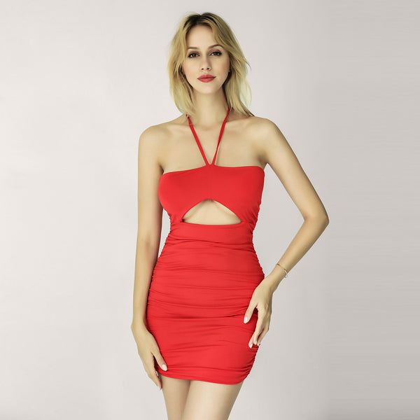 LadyZoye®New  Autumn Celebrity Party Sling Bandeau Cutout Chest Strap Sleeveless Pleated Waist Slimming Knee Dress Sexy