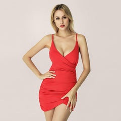 LadyZoye®European and American sexy sling backless folds ladies dress