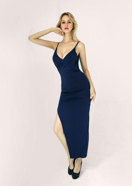 LadyZoye®Sexy Women Spaghetti Strap Backless Split  Empire Party Long Summer Deep V-Neck Cross Tunic Slim Dresses