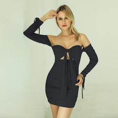 LadyZoye®Sexy Women Dress European and American High Street Trend Off Shoulder Tube Top Puff Sleeve Long Sleeve Mini Dress