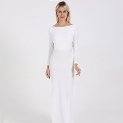 LadyZoye®Backless Sexy Party Dress  Long Sleeve High Side Split  Maxi Dress Women White Black Elegant Long Dress