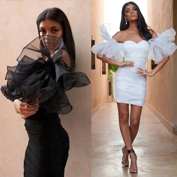 LadyZoye®New Fashion Women Sexy Nightclub Style Pleated Puff Sleeve Women Mesh Bodycon Dress