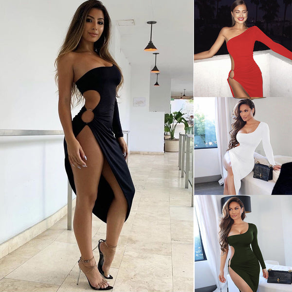 LadyZoye®Sexy Strapless Cutout Prom Dress With High Slit Open Back Plus Size Girls Party Dress Evening Gowns robe de soire