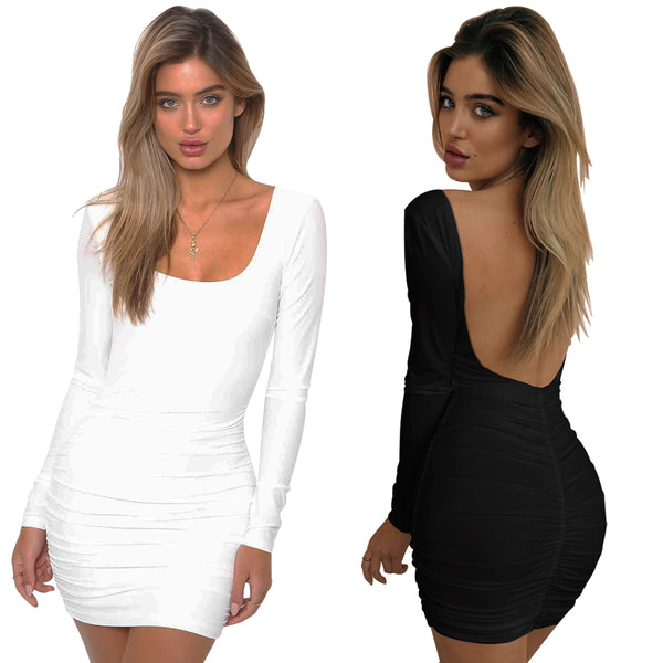 LadyZoye®Sexy Women Dress Backless Long Sleeve  Dress Low Cut Skinny C Dresses Pleated Mini Party Dress