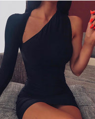 LadyZoye®One Shoulder Sexy Bodycon Party Dress Women Cut Out Long Sleeve Mini Summer Autumn Dress Elastic Black Casual Club Dress