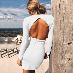 LadyZoye®European and American hot style sexy deep V backless autumn winter new dress Free Shipping