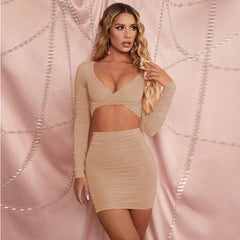 LadyZoye® Ruched Sexy Deep V Dress Two Piece Set Club Outfit Women Long Sleeve Crop Top and Mini Skirt Ladies Hollow Out Party Dress