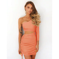 LadyZoye®Summer Sexy One Shoulder Cutout Long Sleever Women Dress New  Fashion Sexy Irregular Collar Casual Solid Clothing