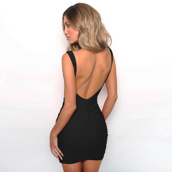 LadyZoye® Sleeveless Backless Sexy  Club Party Dress Women V Neck  Ruched Mini Casual Summer Dress