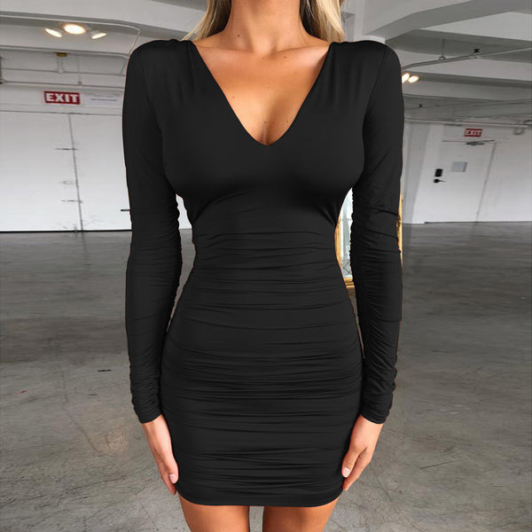 LadyZoye®Solid Color Backless Bandage Pleated Dress Halter Long Sleeve Sexy Tied Back Fashion Dress