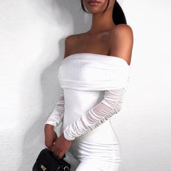 LadyZoye®Summer Party Dress Women Sexy Mesh Bodycon Dress Long Sleeve Off Shoulder Sheer Ruched Celebrity Club Dress