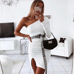 LadyZoye®Women Winter Sexy Dress One Shoulder Long Sleeve Irregular Pleated Dress Elegant Bodycon Plus Size White Party Dress