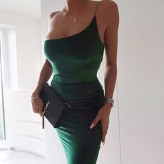 LadyZoye®New Sexy Summer Casual Bodycon Fashion Gold Velvet Women One-Shoulder Sling Tight-Fitting Bag Hip Party Dress