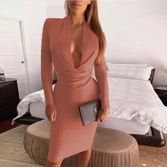 LadyZoye®New Fashion Fall Winter  Sexy Deep V Collar Long Sleeve Slim Fit Hip Ladies Bodycon Dress