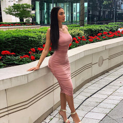 LadyZoye®One Shoulder Pleated Wrap Hips Women Midi Dress Sexy Bodycon Club Party Dress Summer Ladies Elegant Sleeveless Slim Pencil Dress
