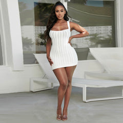 LadyZoye®Sexy dress white sling sweater bag hip skirt autumn and winter bandage dress bodycon dress