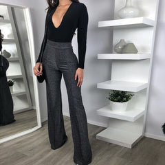 LadyZoye®Spring New Women's European And American Sexy V-neck Long-sleeved Slim Large Size Jumpsuit