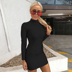 LadyZoye®Women's Slim Sexy Off Shoulder Long Sleeve Dress Lady Fashion Turtleneck Hip Skirt