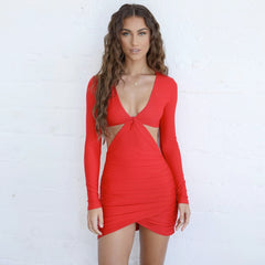 LadyZoye®Mini dress Women's Long Sleeve Dress Solid Color Round Neck Topless Cutout Skinny Hip Mini Dress party