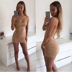 LadyZoye®Fashion Ladies Sexy Strap Pleated Hip Nightclub Dress New Women Dress Skinny Dress Mini Dress