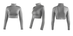 LadyZoye®New Style Women Crop Top Solid Color High Collar Long Sleeve Bottoming T-shirt Casual Slim Pullover Tee Tops
