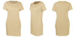 LadyZoye®Summer New Fashion Round Neck Solid Slim Short Sleeve Loose Women Casual