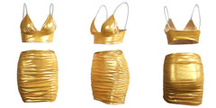 LadyZoye®Summer Ladies 2PCS Crop Tops + Skirts Set Sexy Women Sequins Party Sling Slim Pleated  Bra Skirt Two Piece Tracksuit Sets