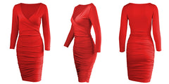 LadyZoye®Autumn Long Sleeve Slim Ribbed Knitted Dress Women Sexy V-neck Solid Pencil Dress Casual  Dress