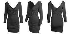 LadyZoye®Women Solid Color Dress Sexy Slim V-neck Long Sleeve Dress Plus Size Bodycon Club Dress
