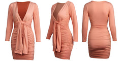 LadyZoye®Sexy Ladies Dresses Deep V Long Sleeve Tie Pleated Bag Hip Dress Autumn Elegant Tie Dress