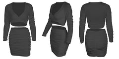 LadyZoye®Fashion Sexy Two Piece Suit Long-sleeved V-neck Top + Pleated Slim Package Hip Skirt Tracksuit