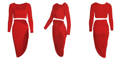 LadyZoye®Women solid color HIgh Slit Two-Piece Dress casual fashion sleevesless sexy 2 piece set women