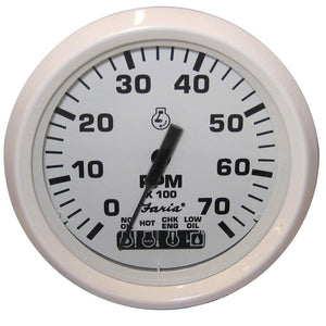 "Faria Dress White 4"" Tachometer w/Systemcheck Indicator - 7000 RPM (Gas) (Johnson / Evinrude Outboard) [33150]"
