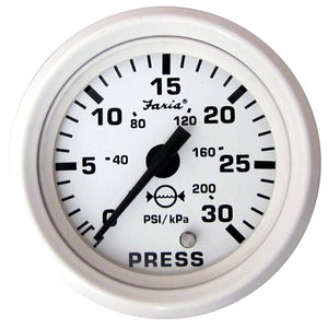 "Faria Dress White 2"" Water Pressure Gauge (30 PSI) [13108]"