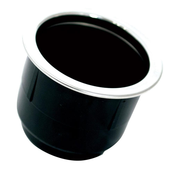 Tigress Black Plastic Cup Holder Insert w/SS Ring On Top [PCHE-BP]